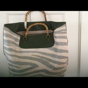 Handbags - Talbots NWT green leather and straw tote bag